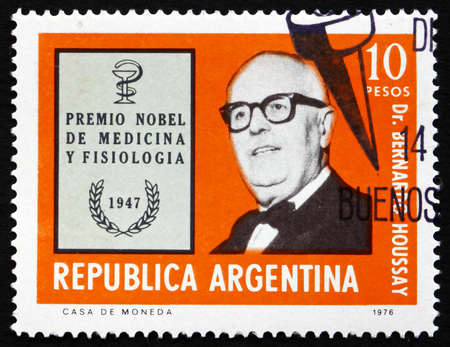 ARGENTINA - CIRCA 1976: a stamp printed in the Argentina shows Dr. Bernardo Houssay, Argentine Nobel Prize Winner for Medicine and Physiology, 1947, circa 1976 Editorial