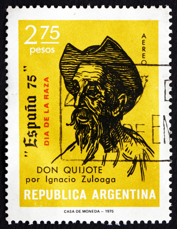don quixote: ARGENTINA - CIRCA 1975: a stamp printed in the Argentina shows Don Quixote, Drawing by Ignacio Zuloaga, circa 1975