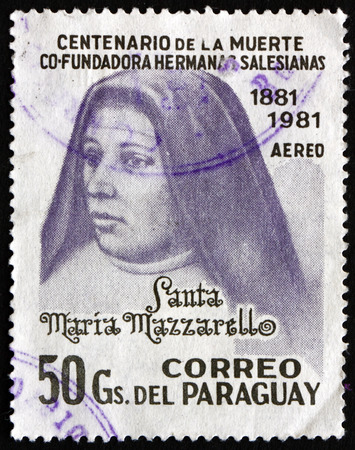 salesian: PARAGUAY - CIRCA 1981: a stamp printed in Paraguay shows Mother Maria Mazzarello, Co-Founder of Daughters of Mary, circa 1981 Editorial