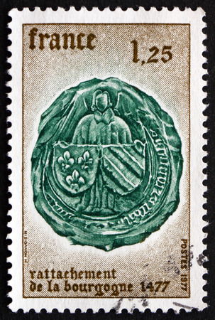 annexation: FRANCE - CIRCA 1977: a stamp printed in the France shows Arms of Burgundy, 500th Anniversary of the Annexation of Burgundy by the French Crown, circa 1977