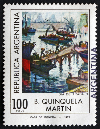 ARGENTINA - CIRCA 1977: a stamp printed in the Argentina shows Labor Day, Painting by B. Quinquela Martin, circa 1977