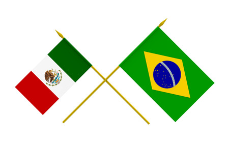Flags of Brazil and Mexico, 3d render, isolated