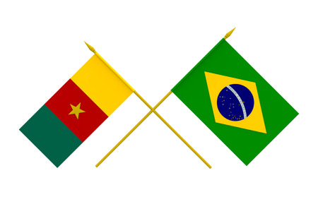cameroonian: Flags of Brazil and Cameroon, 3d render, isolated