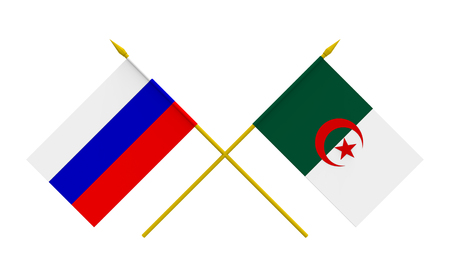 algerian flag: Flags of Algeria and Russia, 3d render, isolated Stock Photo