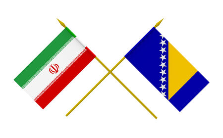 Flags of Iran and Bosnia and Herzegovina, 3d render, isolated photo