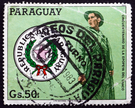 PARAGUAY - CIRCA 1983: a stamp printed in Paraguay shows National Arms and Chaco Soldier, circa 1983