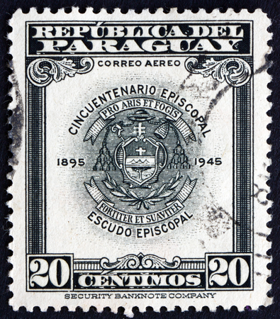 PARAGUAY - CIRCA 1948: a stamp printed in Paraguay shows Archbishopric Coat of Arms, Asuncion, circa 1948