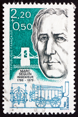 marc: FRANCE - CIRCA 1986: a stamp printed in the France shows Marc Seguin, Engineer and Inventor, circa 1986 Editorial