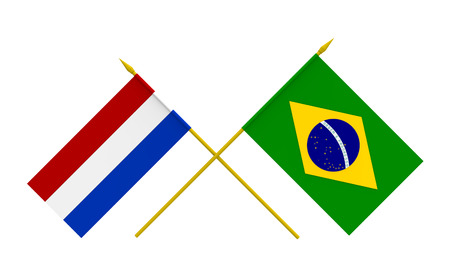 Flags of Brazil and Netherlands, 3d render, isolated
