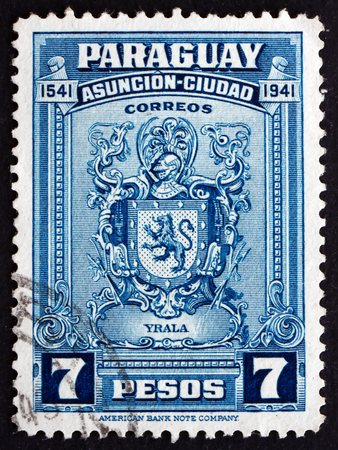 PARAGUAY - CIRCA 1942: a stamp printed in Paraguay shows Arms of Domingo Martinez de Irala, Spanish Basque Conquistador, 400th Anniversary of Asuncion, circa 1942