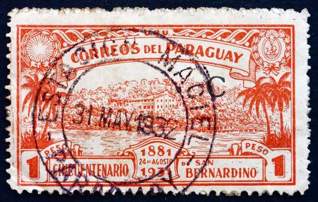 bernardino: PARAGUAY - CIRCA 1931: a stamp printed in Paraguay shows View of San Bernardino, 50th Anniversary of the Founding of San Bernardino, circa 1931 Editorial