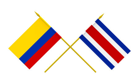 costa rican flag: Flags of Colombia and Costa Rica, 3d render, isolated Stock Photo