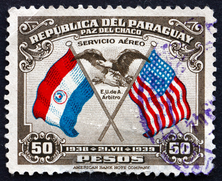 PARAGUAY - CIRCA 1939: a stamp printed in Paraguay shows US Eagle and Shield, First Buenos Aires Peace Conference, circa 1939