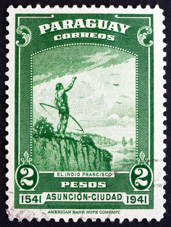 indigene: PARAGUAY - CIRCA 1942: a stamp printed in Paraguay shows The Indian Francisco, 400th Anniversary of Asuncion, circa 1942