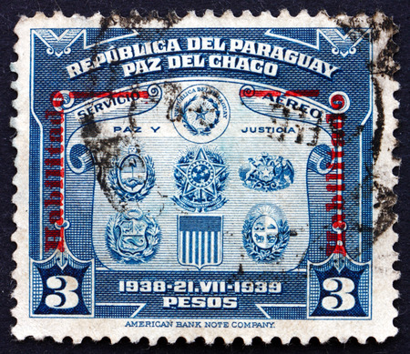 PARAGUAY - CIRCA 1939: a stamp printed in Paraguay shows Coat of Arms, First Buenos Aires Peace Conference, circa 1939