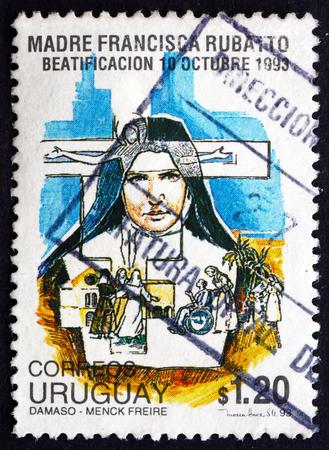 beatification: URUGUAY - CIRCA 1993: a stamp printed in the Uruguay shows Beatification of Mother Francesca Maria Rubatto, Italian Roman Catholic Nun, circa 1993