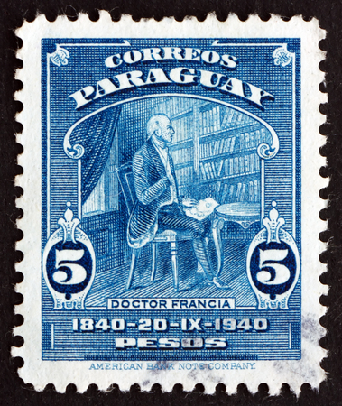 dictator: PARAGUAY - CIRCA 1940: a stamp printed in Paraguay shows Dr. Jose Francia, Dictator of Paraguay, Centenary of the Death, circa 1940 Editorial