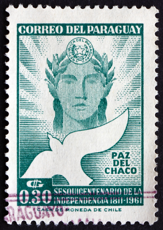 chaco: PARAGUAY - CIRCA 1961: a stamp printed in Paraguay shows Chaco Peace, 150th Anniversary of Independence, circa 1961