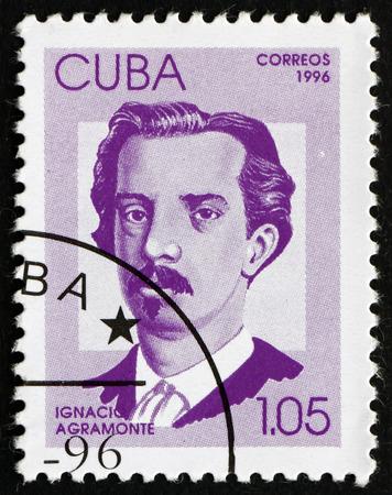 ignacio: CUBA - CIRCA 1996: a stamp printed in the Cuba shows Ignacio Agramonte, Cuban Revolutionary, Hero of the War of Independence, circa 1996 Editorial
