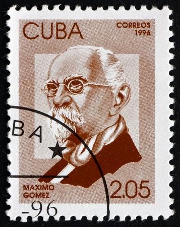 maximo: CUBA - CIRCA 1996: a stamp printed in the Cuba shows Maximo Gomez, Cuban Revolutionary, General, Hero of the War of Independence, circa 1996