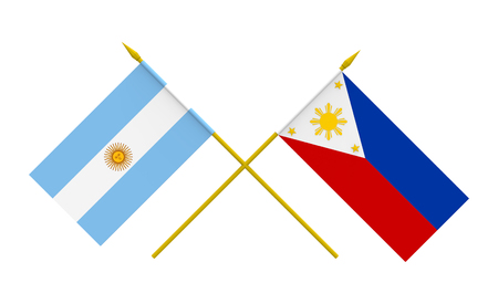 filipino: Flags of Argentina and Philippines, 3d render, isolated on white