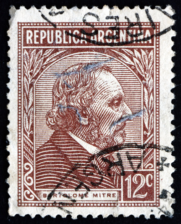 statesman: ARGENTINA - CIRCA 1935: a stamp printed in the Argentina shows Bartolome Mitre, Argentine Statesman, Military Figure and Author, President of Argentina from 1862 to 1868, circa 1935