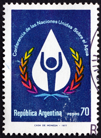 un used: ARGENTINA - CIRCA 1977: a stamp printed in the Argentina shows Water Conference Emblem, UN Water Conference, Mar del Plata, circa 1977 Editorial