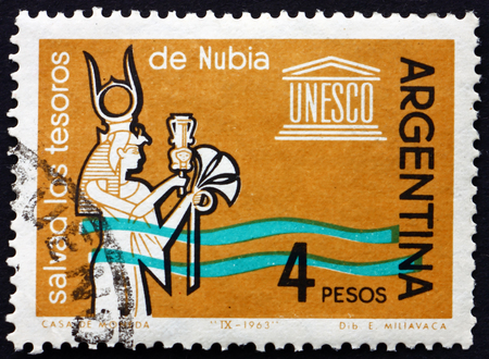 ARGENTINA - CIRCA 1963: a stamp printed in the Argentina shows Queen Nefertari Offering Papyrus Flowers, Abu Simbel, Campaign to Save the Historic Monuments in Nubia, circa 1963