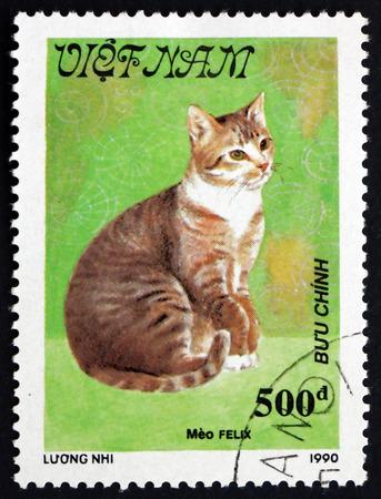 felix: VIETNAM - CIRCA 1990: a stamp printed in Vietnam shows Meo Felix, Cat, circa 1990 Editorial