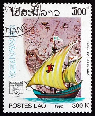 pinta: LAOS - CIRCA 1992: a stamp printed in Laos shows Sailing ship and Map by Piri Reis, Ottoman Admiral, Geographer and Cartographer, circa 1992