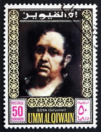 printmaker: UMM AL-QUWAIN - CIRCA 1967: a stamp printed in the Umm al-Quwain shows Francisco Goya, Self-portrait, circa 1967 Editorial