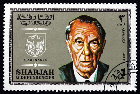 statesman: SHARJAH - CIRCA 1969: a stamp printed in the Sharjah UAE shows Konrad Adenauer, German Statesman, First Post-war Chancellor of Germany, circa 1969