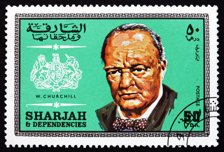 twice: SHARJAH - CIRCA 1969: a stamp printed in the Sharjah UAE shows Winston Churchill, British Politician, Twice Prime Minister of the United Kingdom, circa 1969