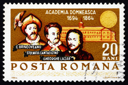 constantin: ROMANIA - CIRCA 1964: a stamp printed in the Romania shows Constantin Brincoveanu, Stolnicul Cantazucino, Gheorghe Lazar and Academy, 250th Anniversary of the Royal Academy, circa 1964 Editorial