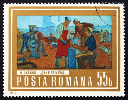 henri: ROMANIA - CIRCA 1973: a stamp printed in the Romania shows Shipyard Workers, Painting by Henri Catargi, Romanian Painter, circa 1973 Editorial