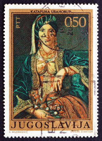 katarina: YUGOSLAVIA - CIRCA 1971: a stamp printed in the Yugoslavia shows Woman in Serbian Costume, Painting by Katarina Ivanovic, circa 1971 Editorial