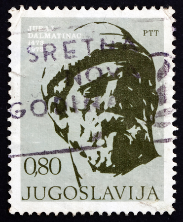 YUGOSLAVIA - CIRCA 1973: a stamp printed in the Yugoslavia shows Juraj Dalmatinac, Medieval Sculptor and Architect from Dalmatia, Giorgio da Sebenico, circa 1973