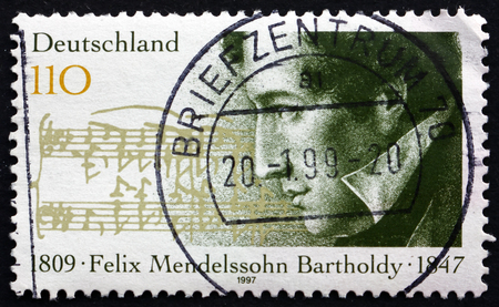 felix: GERMANY - CIRCA 1997: a stamp printed in the Germany shows Felix Mendelssohn Bartholdy, German Composer, Pianist and Conductor of the early Romantic Period, circa 1997