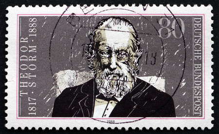 theodor: GERMANY - CIRCA 1988: a stamp printed in the Germany shows Theodor Storm, German Writer, circa 1988