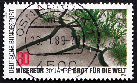 third world: GERMANY - CIRCA 1989: a stamp printed in the Germany shows Barren and Verdant Soil, Church Organizations Helping Third World Nations, Misereor and Brot fur die Welt, circa 1989