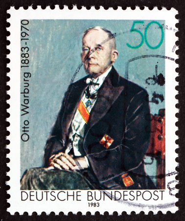 GERMANY - CIRCA 1983: a stamp printed in the Germany shows Otto Warburg, Pioneer of Modern Biochemistry, 1931 Nobel Prize Winner in Medicine, circa 1983 Editorial