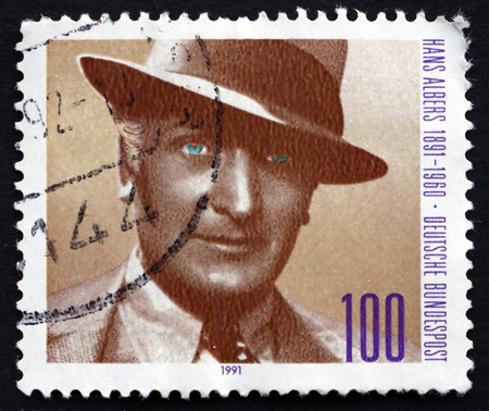 hans: GERMANY - CIRCA 1991: a stamp printed in the Germany shows Hans Albers, German Actor and Singer, circa 1991 Editorial