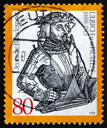 humanist: GERMANY - CIRCA 1988: a stamp printed in the Germany shows Ulrich Reichsritter von Hutten, Humanist, circa 1988