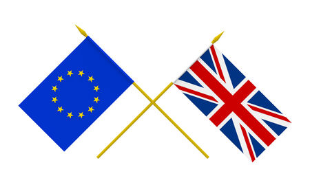 Flags of United Kingdom and European Union, 3d render, isolated on white Stock fotó