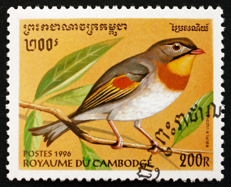 leiothrix: CAMBODIA - CIRCA 1996: a stamp printed in Cambodia shows Red-billed Leiothrix, Leiothrix Lutea, Bird, circa 1996