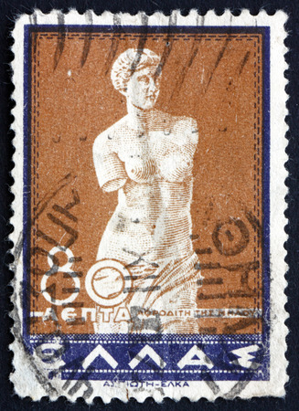alexandros: GREECE - CIRCA 1937: a stamp printed in the Greece shows Venus of Melos, Statue by Alexandros of Antioch, circa 1937