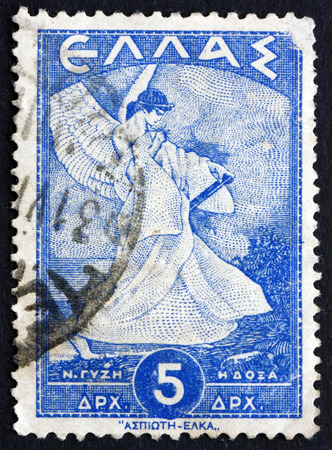 allegorical: GREECE - CIRCA 1945: a stamp printed in the Greece shows Allegorical Figure of Glory, circa 1945