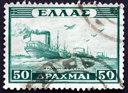 GREECE - CIRCA 1946: a stamp printed in the Greece shows Naval Convoy, circa 1946