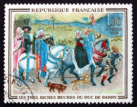 FRANCE - CIRCA 1965: a stamp printed in the France shows Leaving for the Hunt, Miniature of Book of Hours of Jean de France, Painted by Flemish Brothers Limbourg, circa 1965