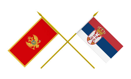 serbia and montenegro: Flags of Montenegro and Serbia, 3d render, isolated on white Stock Photo